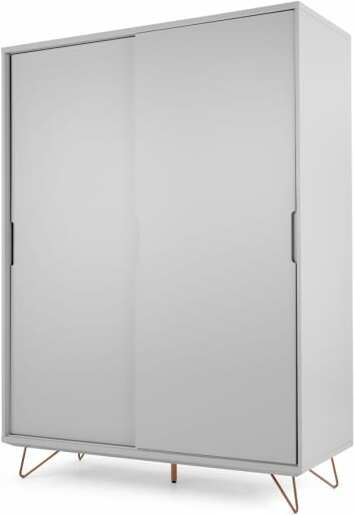 An Image of Elona Sliding Wardrobe, Grey and Copper