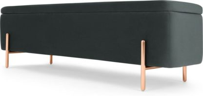 An Image of Asare 150cm Upholstered Ottoman Storage Bench, Midnight Grey Velvet and Copper