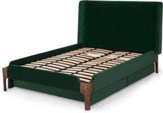An Image of Roscoe Double Bed with Storage Drawers, Pine Green Velvet & Dark Stain Oak Legs