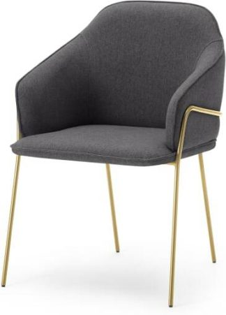 An Image of Stanley Carver Dining Chair, Nimbus Grey & Brass