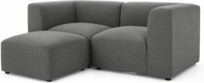 An Image of Juno 2 Seater Modular Sofa with Footstool, Marl Grey