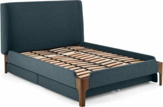 An Image of Roscoe Double Bed With Storage Drawers, Aegean Blue & Dark Stain Oak Legs