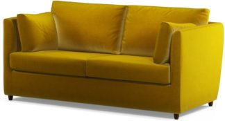 An Image of Milner Sofa Bed with Foam Mattress, Saffron Yellow Velvet