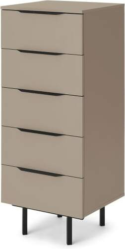 An Image of Damien Tall Chest of Drawers, Cappuccino & Black