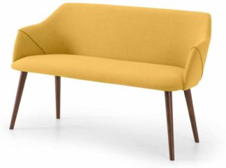 An Image of Lule Dining Bench, Yellow & Walnut leg