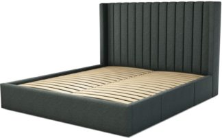 An Image of Custom MADE Cory Super King size Bed with Drawers, Etna Grey Wool