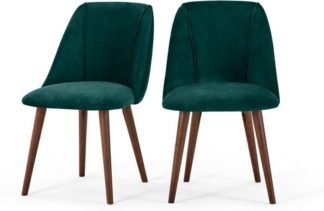 An Image of Lule Set of 2 Dining Chairs, Seafoam Blue Velvet