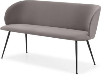 An Image of Adeline Dining Bench, Latte Velvet & Black