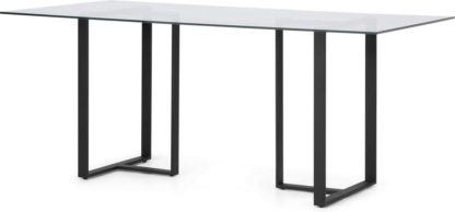 An Image of Saffie 6 Seat Dining Table, Black & Glass