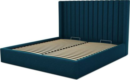 An Image of Custom MADE Cory Super King size Bed with Ottoman, Navy Wool