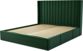 An Image of Custom MADE Cory Super King size Bed with Drawers, Bottle Green Velvet