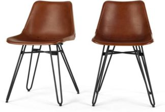 An Image of Set of 2 Kendal Dining Chairs, Tan and Black