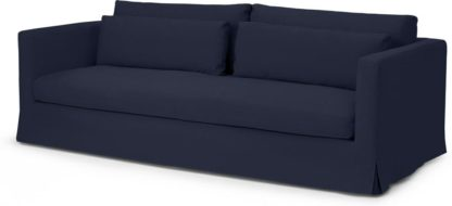 An Image of Arabelo 3 Seater Loose Cover Sofa, Midnight Blue Cotton & Linen Mix Fabric
