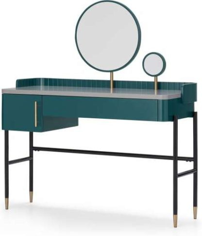 An Image of Lali Dressing Table, Teal & Brass