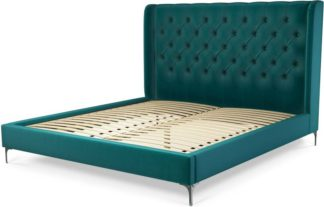 An Image of Custom MADE Romare Super King Size Bed, Tuscan Teal Velvet with Nickel Legs