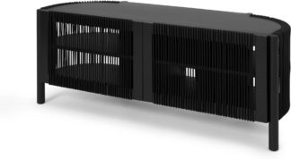 An Image of Tamana Wide Media Unit, Black Acacia Wood & Cord