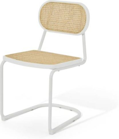 An Image of Leora Dining Chair, Cane & Ivory White