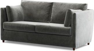 An Image of Milner Sofa Bed with Memory Foam Mattress, Steel Grey Velvet