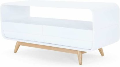 An Image of Esme Compact TV Stand, White and Ash