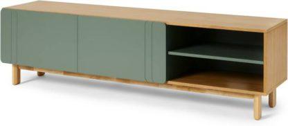 An Image of Asuna Wide TV Unit, Oak & Fern Green