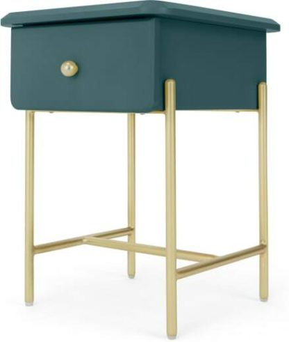 An Image of Maddie Bedside Table, Teal & Brass
