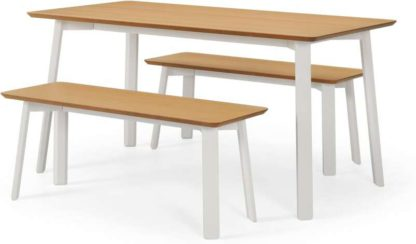 An Image of Asuna Dining Table & Bench Set, Oak & Ivory White