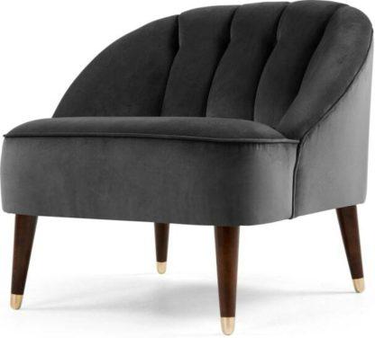 An Image of Margot Accent Armchair, Pewter Grey Velvet