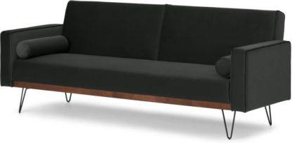 An Image of Warner Click Clack Sofa Bed, Dark Anthracite Velvet