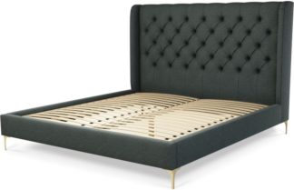An Image of Custom MADE Romare Super King size Bed, Etna Grey Wool with Brass Legs