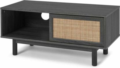 An Image of Pavia Compact Media Unit, Natural Rattan & Black Wood Effect