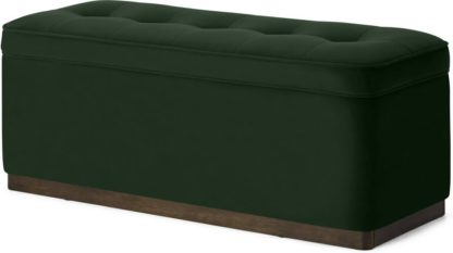 An Image of Lavelle Ottoman Bench with Walnut Stain Plinth, Laurel Green Velvet
