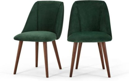 An Image of Set of 2 Lule Dining Chairs, Pine Green Velvet
