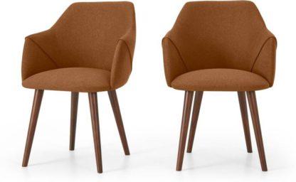An Image of Lule Set of 2 Carver Dining Chairs, Dune Orange & Walnut Leg