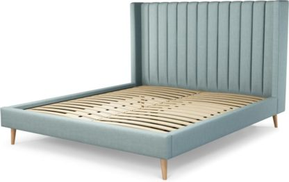 An Image of Custom MADE Cory Super King size Bed, Sea Green Cotton with Oak Legs