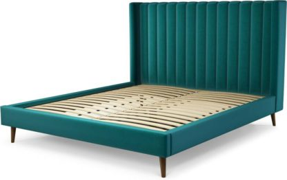 An Image of Custom MADE Cory Super King size Bed, Tuscan Teal Velvet with Walnut Stained Oak Legs