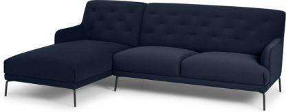 An Image of Attwood Left Hand Facing Chaise End Corner Sofa, Ink Blue Velvet