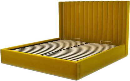 An Image of Custom MADE Cory Super King size Bed with Ottoman, Saffron Yellow Velvet