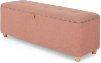 An Image of Burcot Upholstered Ottoman Storage Bench, Dusk Pink and Cool Grey