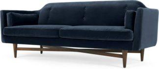 An Image of Imani 3 Seater Sofa, Navy Cotton Velvet