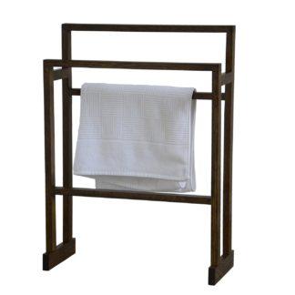 An Image of Wireworks Free Standing Towel Rail Dark Oak Medium
