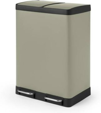 An Image of Colter 60L, Soft Close Double Recycling Pedal Bin, x2 30L, Sand