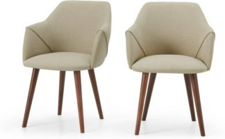 An Image of Lule Set of 2 Carver Dining Chairs, Ecru and Walnut Leg