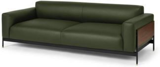 An Image of Presley 3 Seater Sofa, Birch Green Leather