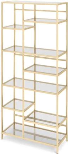 An Image of Connelly Shelving Unit, Brass & Smoked Glass