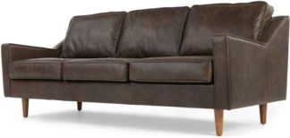 An Image of Dallas 3 Seater Sofa, Oxford Brown Premium Leather