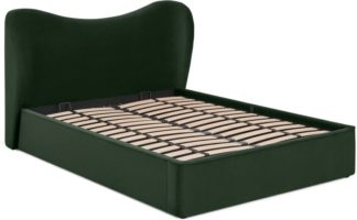 An Image of Kooper King Size Ottoman Storage Bed, Laurel Green Velvet