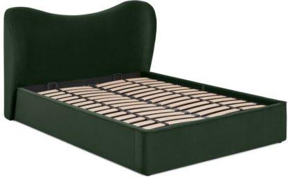 An Image of Kooper King Size Ottoman Storage Bed, Laurel Green Velvet