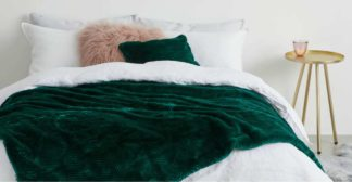 An Image of Chevron Luxury Faux Fur Throw, 130 x 170cm, Peacock Green