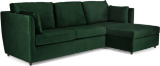 An Image of Milner Right Hand Facing Corner Storage Sofa Bed with Foam Mattress, Bottle Green Velvet