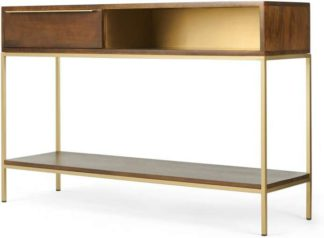 An Image of Anderson Console Table, Mango Wood & Brass